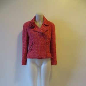 CHANEL PINK/RED TWEED ZIP UP BLAZER 10*